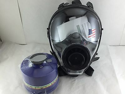 Mestel Safety SGE 400 Gas Mask w/40mm NATO NBC Filter - NEW / Both made in 2017