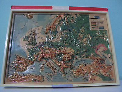 Rare!! Vintage Relief Map Of Europe 1966 Promotional Of Chlorine Klinex Greece