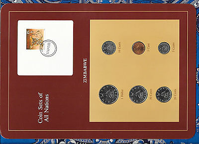 Coin Sets of All Nations Zimbabwe UNC 1980 - 1990 UNC $1, 10 cents 1980 50 1990