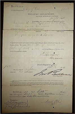 Civil War 1864  Deceased Jeremiah H Pile Co A 128Th Arrears Of Pay To Father Of