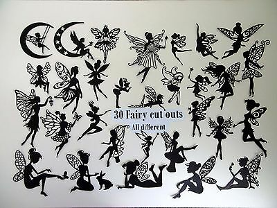 30 FAIRY Silhouette Die Cut Outs, all different.
