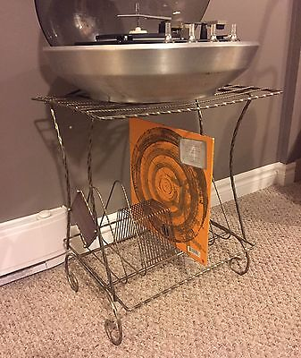 Mid Century Vintage 1960s Metal Record Player Stand And Record Rack