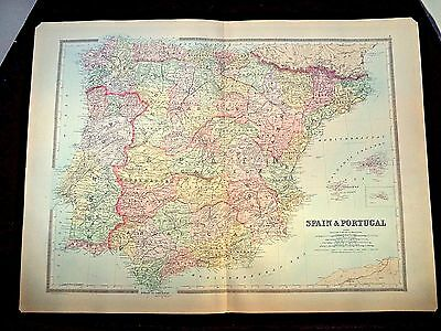 1889 Map, Spain & Portugal, Plate 8, Bradley'S Atlas Of The World