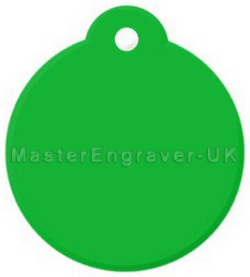 Personalised Engraved Pet Id Tag - Large Loop Disc - Green