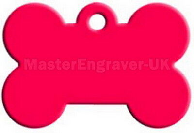 Personalised Engraved Pet Id Tag - Large Bone Shape + Free Ring - Hot Pink