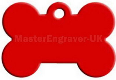 Personalised Engraved Pet Id Tag - Large Bone Shape + Free Ring - Red