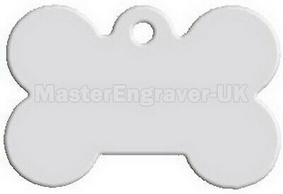 Personalised Engraved Pet Id Tag - Large Bone Shape + Free Ring - Silver