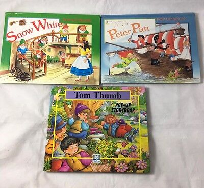 3 Pop Up Story Books - Peter Pan - Snow White - Tom Thumb