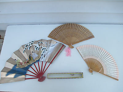 3 Vintage Hand Fans 1 Carved Wood 2 Paper & Wood & Box with Glass Insert Top