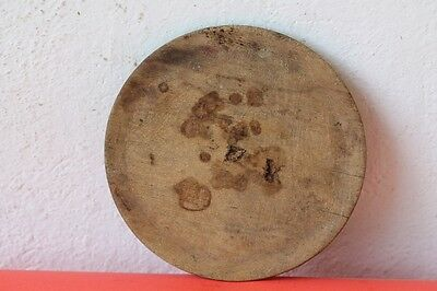 Antique Authentic Primitive Hand Carved Wooden Treenware Round Plate . #1