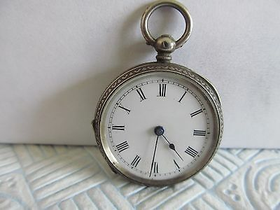 Swiss made fob pocket watch solid silver good condition not working,