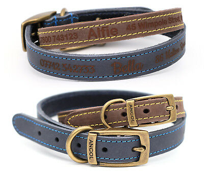 Ancol Timberwolf Personalised Finest Quality Leather Dog Puppy Collar Custom Tag