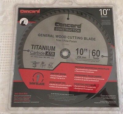Concord Construction 10-Inch 60 Teeth TCT General Wood Cutting Blade