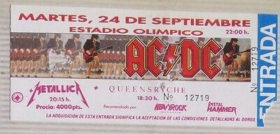 Ac/dc-Metallica-Queensryche : Ticket Original !!!! (Barcelona 1991) Spain  !!!!!