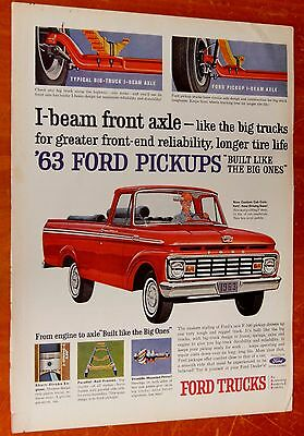 Red 1963 Ford Custom Cab Pick Up Truck Twin I Beam Suspension Ad - American 60S