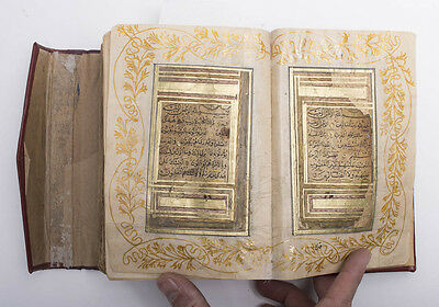 Illuminated Medium Size Arabic Manuscript Koran, Signed and Dated by the Calligr