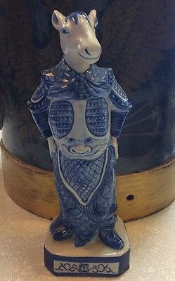 Chinese Zodiac Year Of The Horse Blue Porcelain Animal Figurine Statue