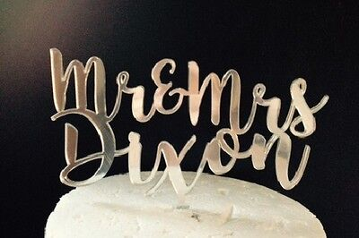 Quirky Acrylic Mr & Mrs Wedding Cake Topper Personalised