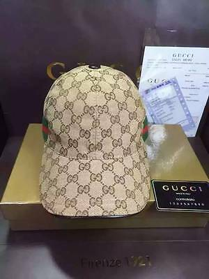 Nwt Gucci Logo Mens/womens Brown Baseball Cap Style Hat Size M