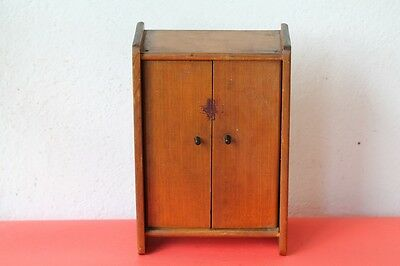 Vintage Wood Medicine Apothecary Wall Cabinet Chest Cupboard