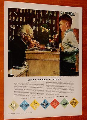 Beautiful 1957 Watchmakers Of Switzerland With Normand Rockwell Painting Ad