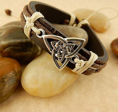 Unisex Adjustable Silver Celtic Triquerta Trinity Knot Leather Bracelet