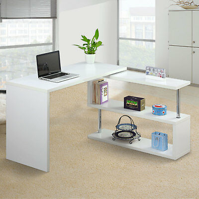 Corner L-shape PC Computer Office Desk White Home Table Workstation With Shelves