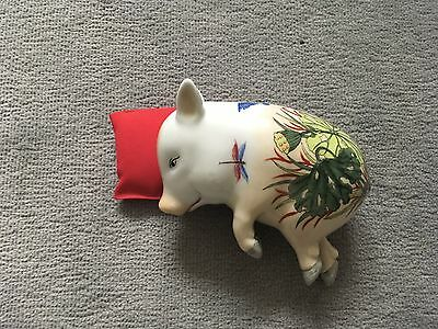 Vintage Hand Painted Porcelain Sleeping Pig Statue Japanese Chinese Figurine