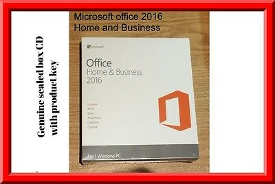 Genuine Sealed box microsoft office Home and business 2016 CD key in box by post