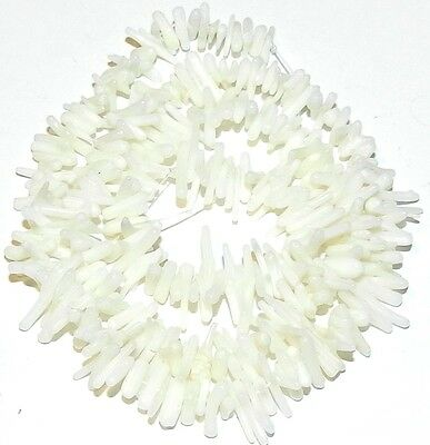 """CRL132f White Bamboo Coral Cupolini Small 10mm Freeform Branch Beads 16"""""""