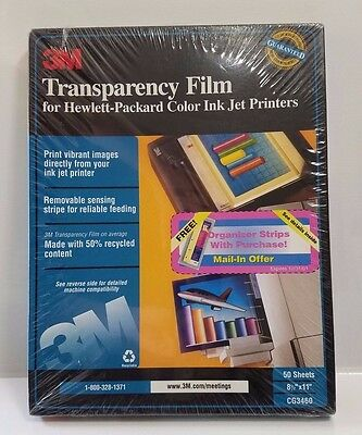 NIB 3M Transparency Film for HP Ink Jet Printers, CG3460, 50 Sheets 8.5 x 11