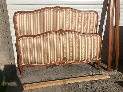 Antique Vintage French Capitonne Bed Frame Clean Stripey Peach And Green Fabric