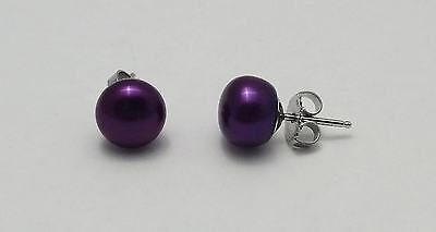 Honora Bridal Wedding Freshwater Cultured Pearl Purple Stud Earrings Silver