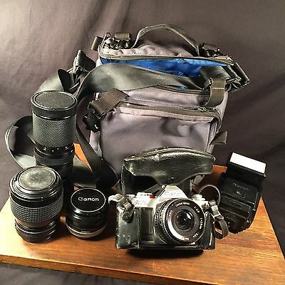 Vintage Camera CANON AV-1 + Lens & bag Lot PRIORITY MAIL