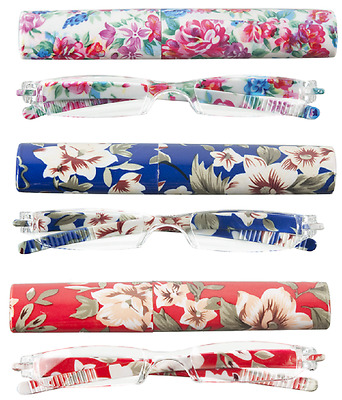 Women's Readers +1.50 w/ Plastic Case Select: Red, Blue or White with Flowers