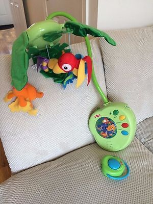 Fisher Price Rainforest Peek A Boo Musical Cot Mobile With Remote Control
