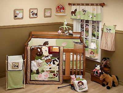 "Nojo "" Farm Babies "" animals crib little baby girl boy HANGING WALL ART set EUC"