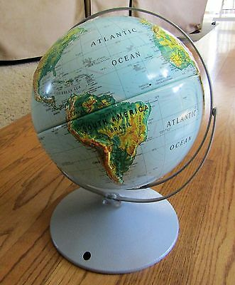 """90""""s Nystrom Double Axis, Sculptural Relief World Globe Raised, 30 cm. 12"""" inch"""