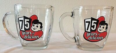 "Big Boy Restaurant ""75 Years of Delicious"" Square Top Glass Coffee Mugs"