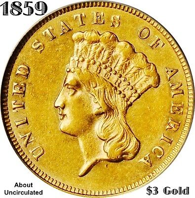 1859 $3 Gold Indian Princess Head  **au**  Scarce **new Variety ?**