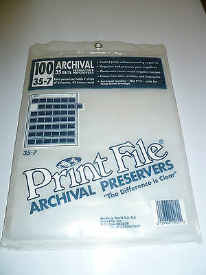 100 35mm Negative Film Archival Preservers 35-7 Print File New Sealed
