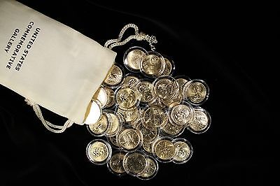 1999-2005 D Gold Plated US State Quarter Set - 35 Quarters in Capsules