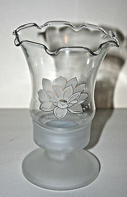 L.E.Smith Glass Tealight Holder,Frosted Base,Floral Design on Fluted Edged Glass