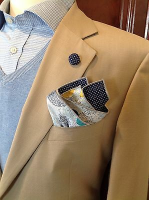 NEW Pocket Square White Navy Blue Yellow Floral Polka Dots Reversible Gift Men's