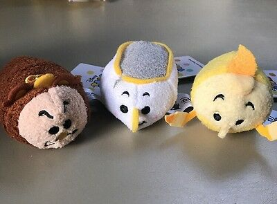 Disney Beauty and the Beast Tsum Tsum set of 3, Cogsworth Lumiere Chip Potts NEW