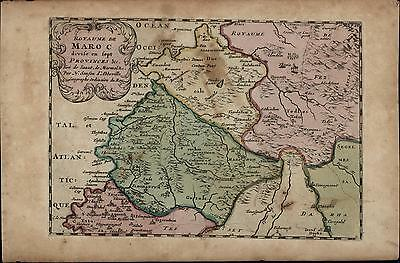 Morocco North Africa Sahara Desert Tangier Fez kingdoms c1700 Sanson antique map