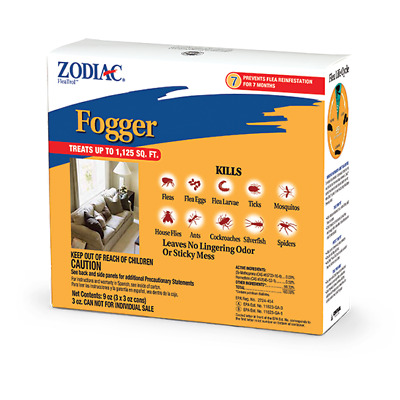 Zodiac Flea & Tick Insects Fogger 3pack  treats up to 1,125 sq ft