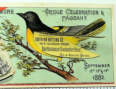 1882 Rochester Beer Southern Bottling, Bartholomay Mechanical Oriole Bird 2 F69
