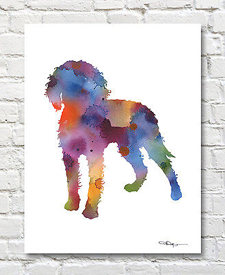 "American Water Spaniel Abstract Watercolor 11"" x 14"" Art Print by Artist DJR"
