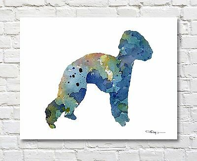 Bedlington Terrier Abstract Watercolor Painting Art Print by Artist DJ Rogers